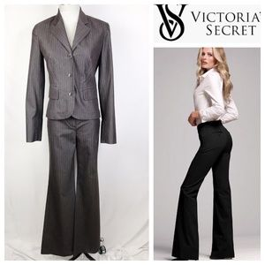 Body By Victoria Taupe Brown Pin-Stripe Pant Suit